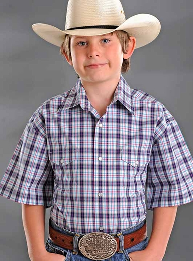 Rough Stock Boys Short Sleeve Plaid Western Snap Shirt - White/Red/Black