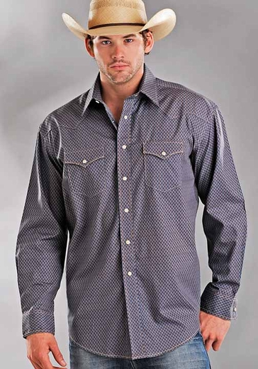 Rough Stock Men's Long Sleeve Antique Print Western Snap Shirt - Brown (Closeout)