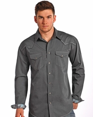 Rough Stock Men's Long Sleeve Dobby Snap Shirt-Grey (Closeout)