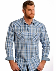 Rough Stock Men's Long Sleeve Embroidered Plaid Snap Shirt - Light Blue