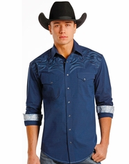 Rough Stock Men's Long Sleeve Embroidered Print Snap Shirt- Blue