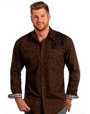 Rough Stock Men's Long Sleeve Embroidered Print Snap Shirt - Chocolate