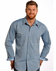 Rough Stock Men's Long Sleeve Iridescent Micro Twill Snap Shirt - Blue