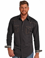 Rough Stock Men's Long Sleeve Iridescent Micro Twill Snap Shirt - Black