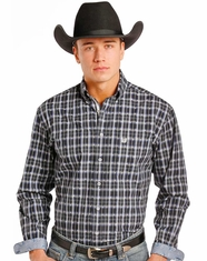 Rough Stock Men's Long Sleeve Plaid Button Down Shirt- Blue