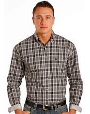 Rough Stock Men's Long Sleeve Plaid Button Down Shirt- Grey