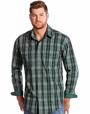 Rough Stock Men's Long Sleeve Plaid Snap Shirt-Green (Closeout)