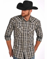 Rough Stock Men's Long Sleeve Plaid Snap Shirt - Grey