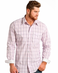 Rough Stock Men's Long Sleeve Plaid Snap Shirt-Pink (Closeout)