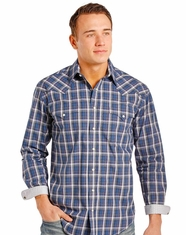Rough Stock Men's Long Sleeve Plaid Snap Shirt- Purple