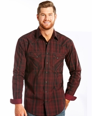 Rough Stock Men's Long Sleeve Plaid Snap Shirt-Red