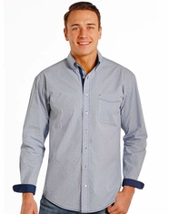 Rough Stock Men's Long Sleeve Print Button Down Shirt- Blue