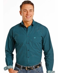 Rough Stock Men's Long Sleeve Print Button Down Shirt- Green