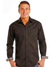 Rough Stock Men's Long Sleeve Print Snap Shirt- Black