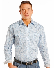 Rough Stock Men's Long Sleeve Print Snap Shirt- Blue