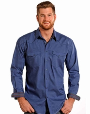 Rough Stock Men's Long Sleeve Print Snap Shirt - Blue