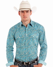 Rough Stock Men's Long Sleeve Print Snap Shirt - Turquoise