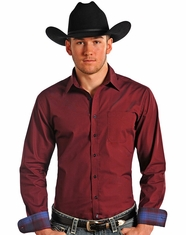 Rough Stock Men's Long Sleeve Slim Fit Print Button Down Shirt-Red