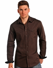 Rough Stock Men's Long Sleeve Slim Fit Print Snap Shirt-Brown (Closeout)