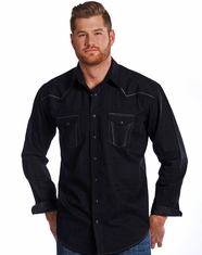Rough Stock Men's Long Sleeve Vintage Dobby Snap Shirt-Black (Closeout)