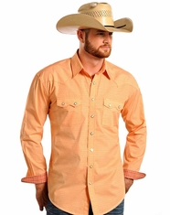 Rough Stock Men's LS Print Snap Shirt - Orange