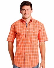 Rough Stock Men's Short Sleeve Plaid Button Down Shirt - Orange (Closeout)