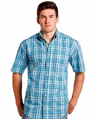 Rough Stock Men's Short Sleeve Plaid Button Down Shirt - Turquoise (Closeout)