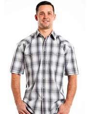 Rough Stock Men's Short Sleeve Plaid Snap Shirt - Dark Grey