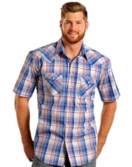 Rough Stock Men's Short Sleeve Plaid Snap Shirt - Royal
