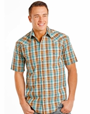Rough Stock Men's Short Sleeve Plaid Snap Shirt- Turquoise
