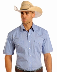 Rough Stock Men's Short Sleeve Print Snap Shirt - Blue