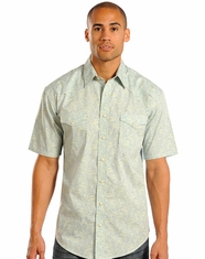 Rough Stock Men's Short Sleeve Print Snap Shirt - Green