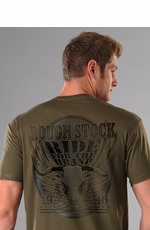"Rough Stock Men's Short Sleeve ""Ride for the Brand"" Tee Shirt - Olive (Closeout)"