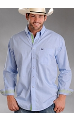 Rough Stock Men's Solid Button Down Western Shirt - Light Blue (Closeout)