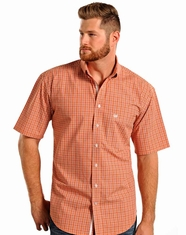 Rough Stock Men's SS Check Button Down Shirt - Copper