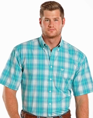 Rough Stock Men's SS Plaid Button Down Shirt - Bright Turquoise