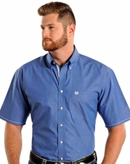 Rough Stock Men's SS Vintage Dobby Button Down Shirt - Blue