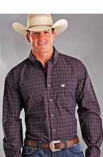 Rough Stock Men's Vintage Check Button Down Western Shirt - Black/ Red
