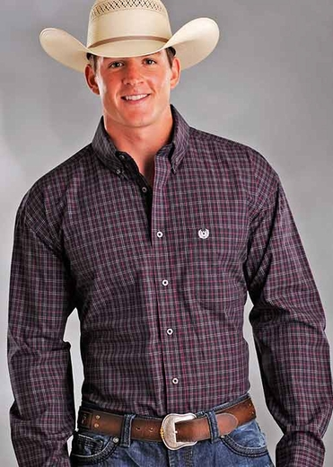 Rough Stock Men's Vintage Check Button Down Western Shirt - Black/ Red (Closeout)