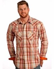 Rough Stock Men's Vintage Ombre Plaid Snap Shirt - Orange (Closeout)