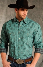 Rough Stock Mens Brussels Vintage Print Western Snap Shirt - Teal