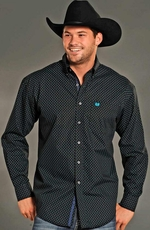 Rough Stock Mens Long Sleeve Button Down Print Western Shirt - Black