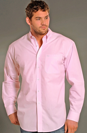 Rough Stock Mens Long Sleeve Button Down Stripe Western Shirt - Pink (Closeout)