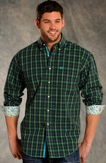 Rough Stock Mens Long Sleeve Button Down Western Plaid Shirt - Green