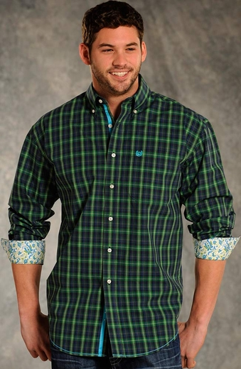 Rough Stock Mens Long Sleeve Button Down Western Plaid Shirt - Green (Closeout)