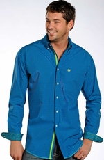 Rough Stock Mens Long Sleeve Check Button Down Western Shirt - Blue (Closeout)