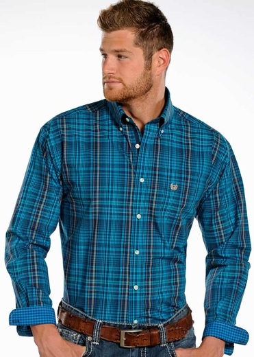 Rough Stock Mens Long Sleeve Plaid Button Down Western Shirt - Blue (Closeout)