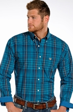 Rough Stock Mens Long Sleeve Plaid Button Down Western Shirt - Blue