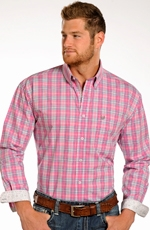 Rough Stock Mens Long Sleeve Plaid Button Down Western Shirt - Pink (Closeout)