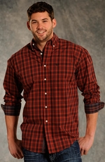 Rough Stock Mens Long Sleeve Plaid Button Down Western Shirt - Rust